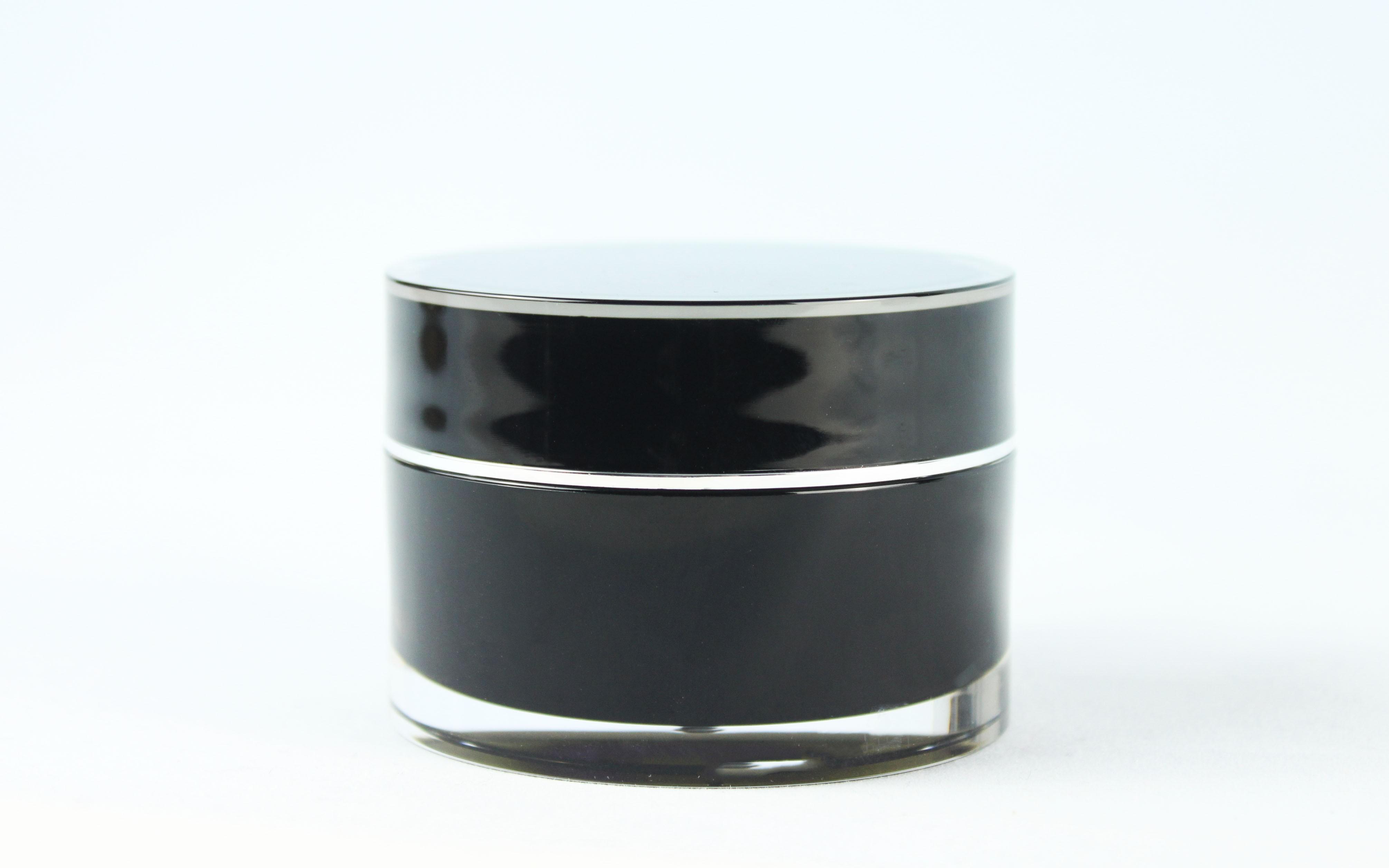 50ml BLACK ACRYLIC JAR WHITE PP INNER & LID & SHIVE