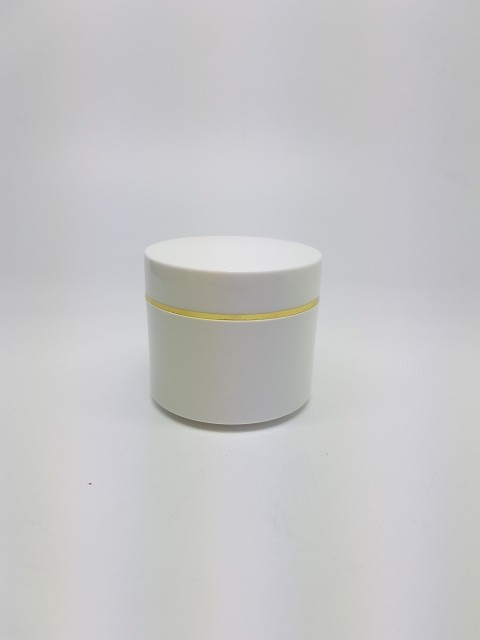 100ml DOUBLE WALL JAR FLAT BASE LID WITH SILVER RIM & SHIVE