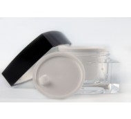 15ml SQUARE ACRYLIC JAR WHITE INNER & BLACK LID & SHIVE